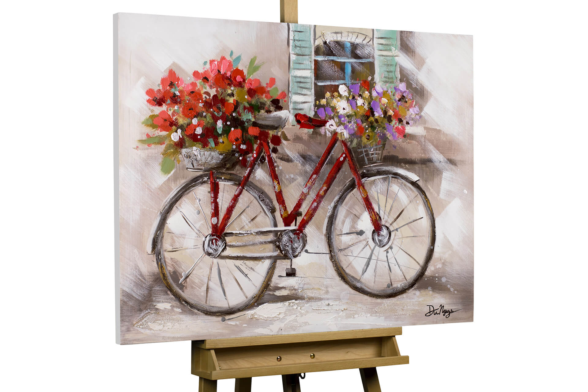 bild fahrrad blumen im sommer rot kaufen kunstloft. Black Bedroom Furniture Sets. Home Design Ideas