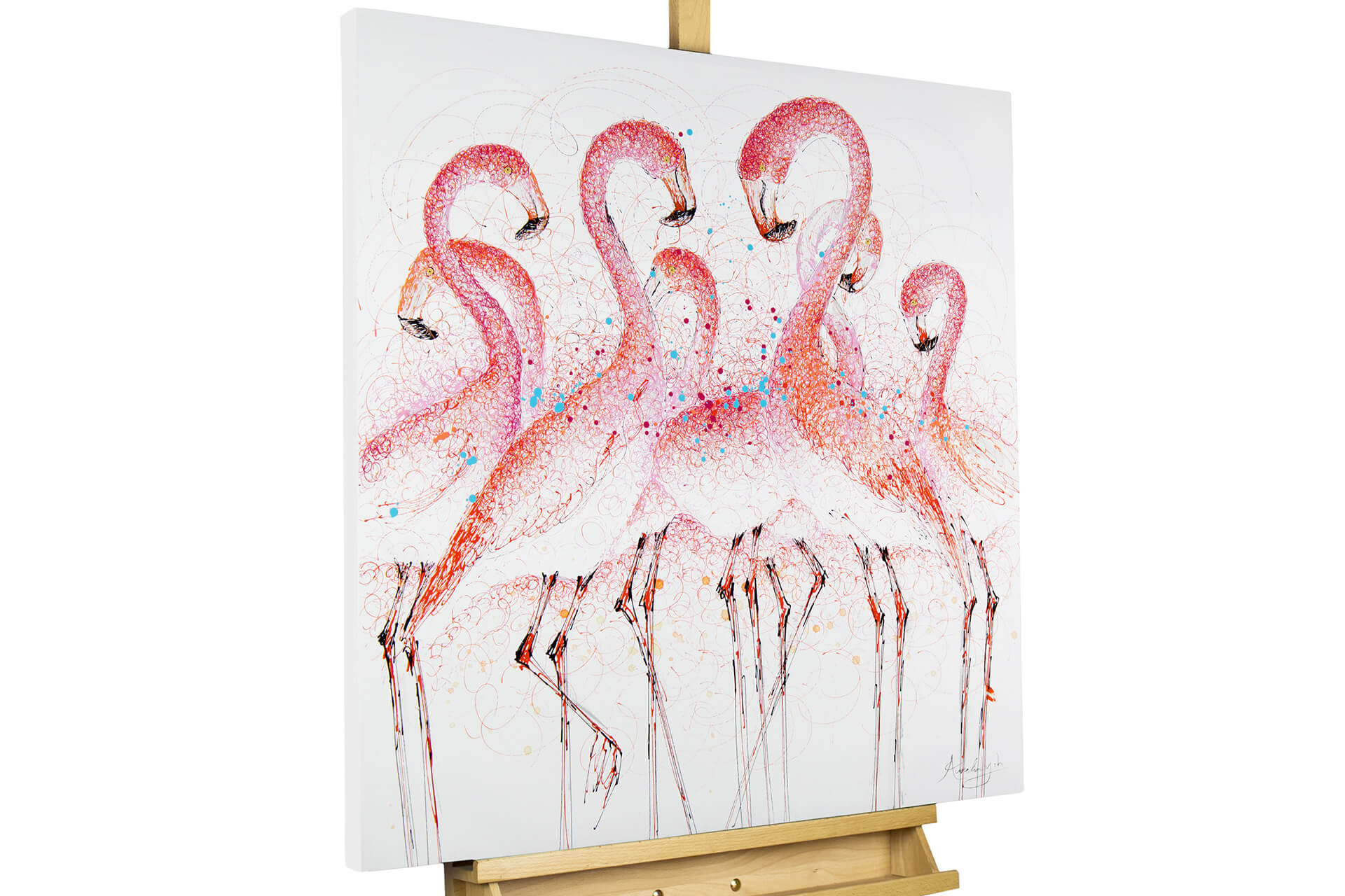 acrylbild flamingos in pink gem lde kaufen kunstloft. Black Bedroom Furniture Sets. Home Design Ideas