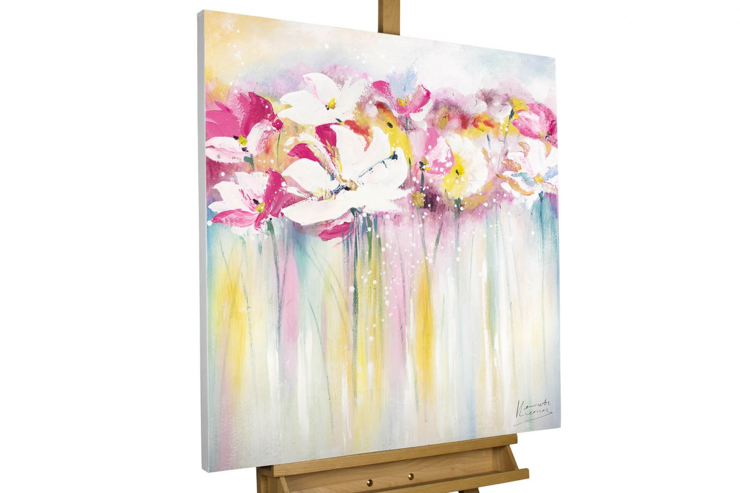 acryl gem lde 39 blumen bl ten pink weiss 39 handgemalt leinwand bilder 80x80cm ebay. Black Bedroom Furniture Sets. Home Design Ideas