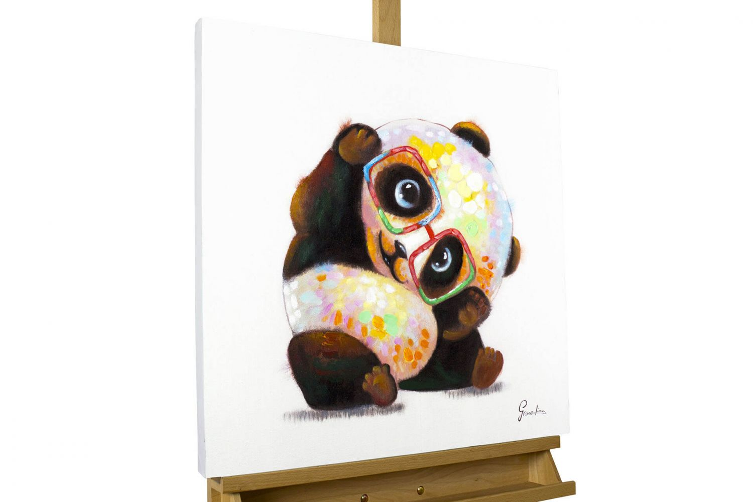 acryl gem lde 39 panda modern bunt 39 handgemalt leinwand. Black Bedroom Furniture Sets. Home Design Ideas
