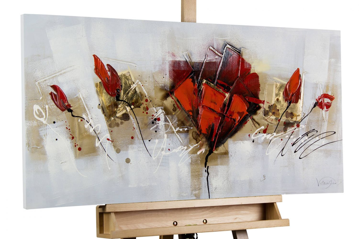 acryl gem lde 39 mohnblumen rot abstrakt 39 handgemalt leinwand bilder 100x50cm ebay. Black Bedroom Furniture Sets. Home Design Ideas