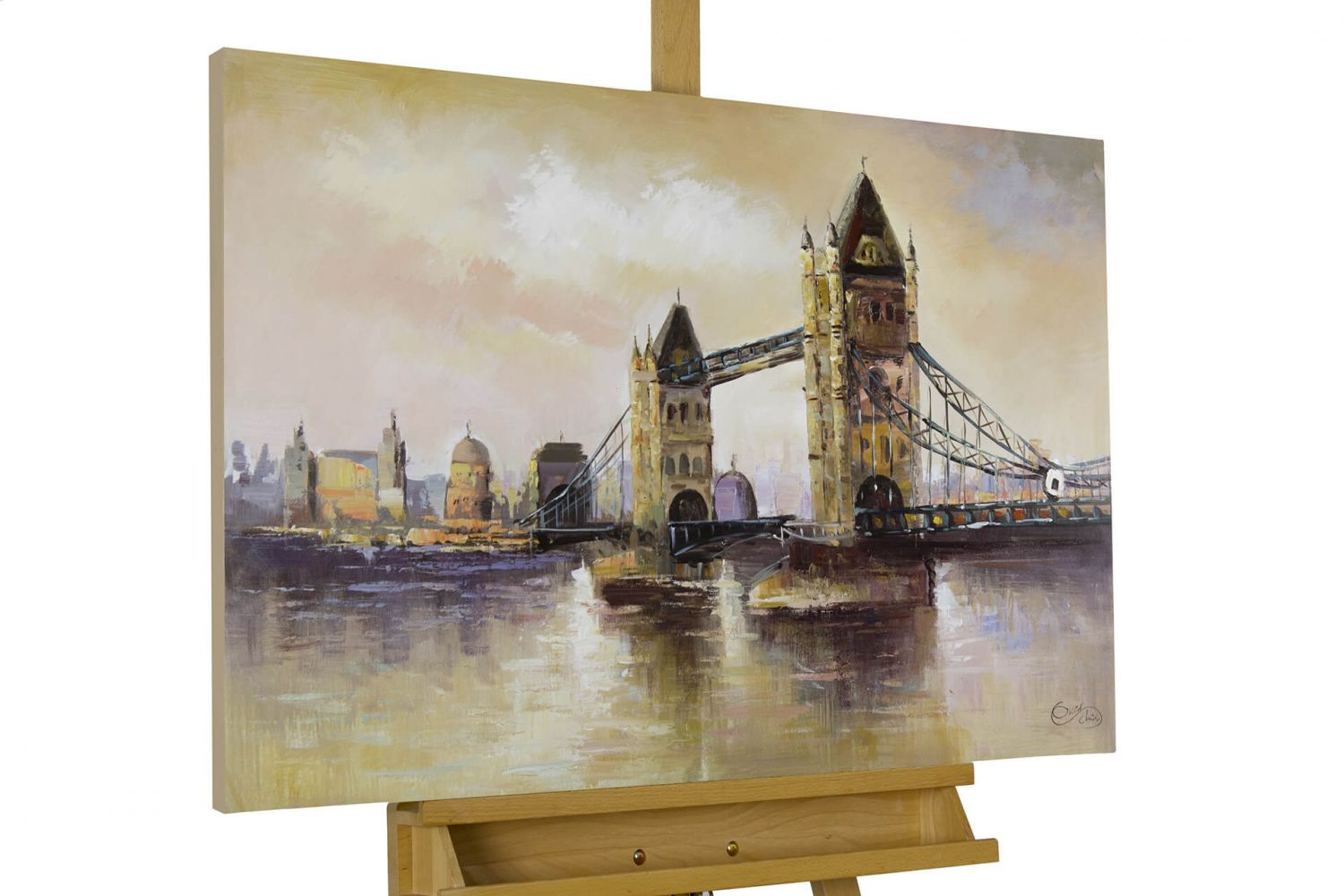 acryl gem lde 39 london tower bridge 39 handgemalt leinwand bilder 90x60cm ebay. Black Bedroom Furniture Sets. Home Design Ideas