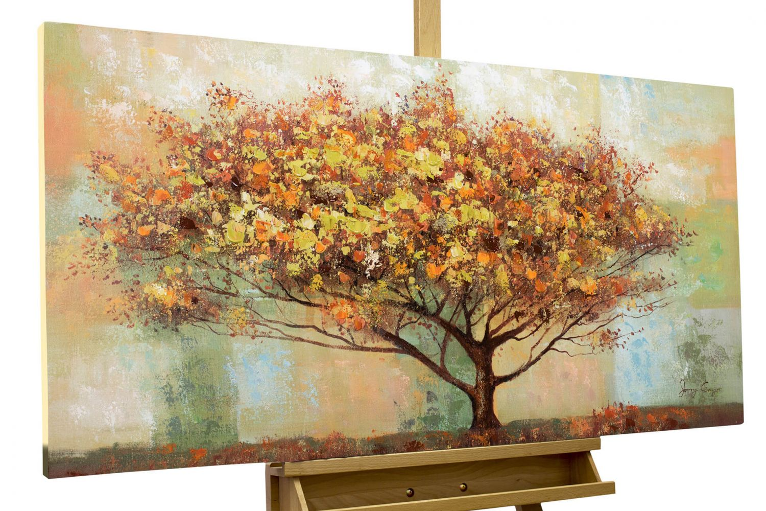 acryl gem lde 39 herbstbaum baum herbst 39 handgemalt leinwand bilder 120x60cm ebay. Black Bedroom Furniture Sets. Home Design Ideas