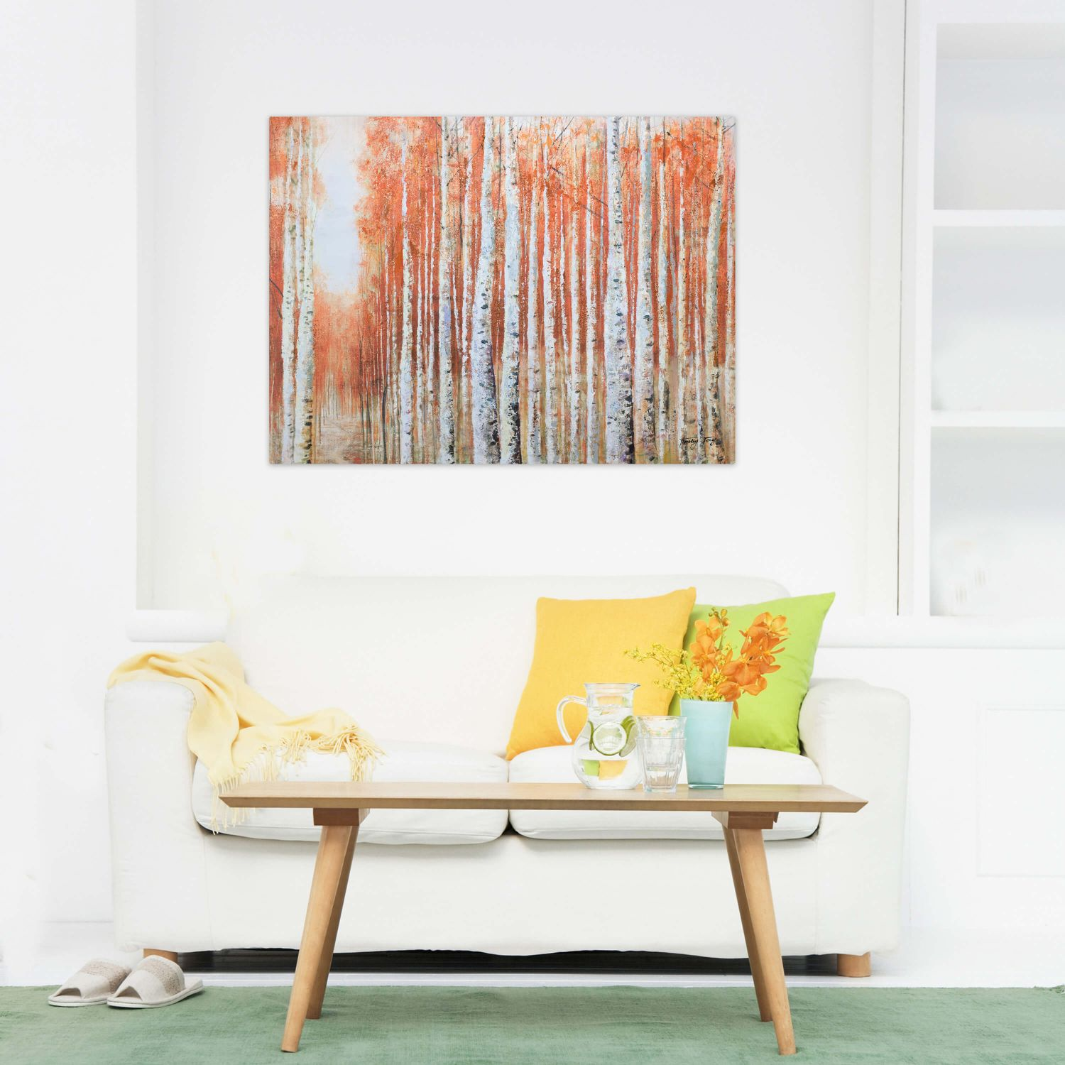 acryl gem lde 39 birkenwald deko baum 39 handgemalt leinwand bilder 100x75cm ebay. Black Bedroom Furniture Sets. Home Design Ideas