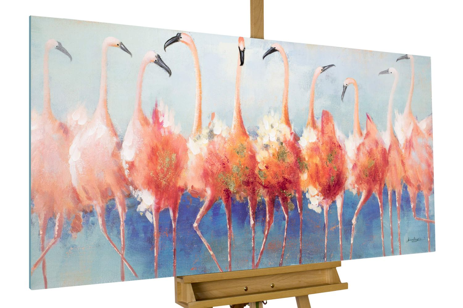 acryl gem lde 39 flamingo pink deko 39 handgemalt leinwand bilder 140x70cm ebay. Black Bedroom Furniture Sets. Home Design Ideas