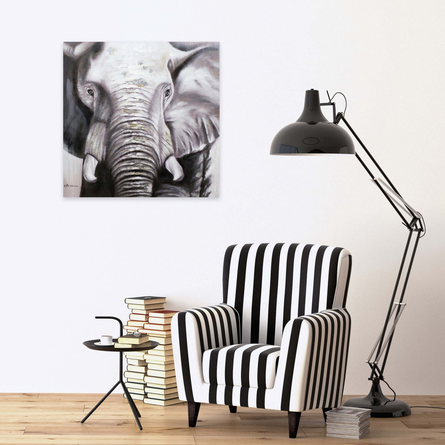 acryl gem lde 39 elefant deko schwarz weiss 39 handgemalt leinwand bilder 80x80 ebay. Black Bedroom Furniture Sets. Home Design Ideas