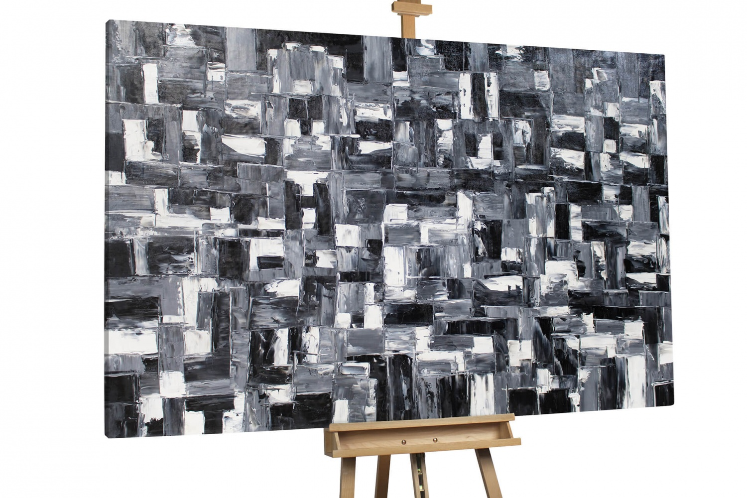 l gem lde 39 abstrakt schwarz weiss xxl 39 handgemalt leinwand bilder 180x120cm ebay. Black Bedroom Furniture Sets. Home Design Ideas