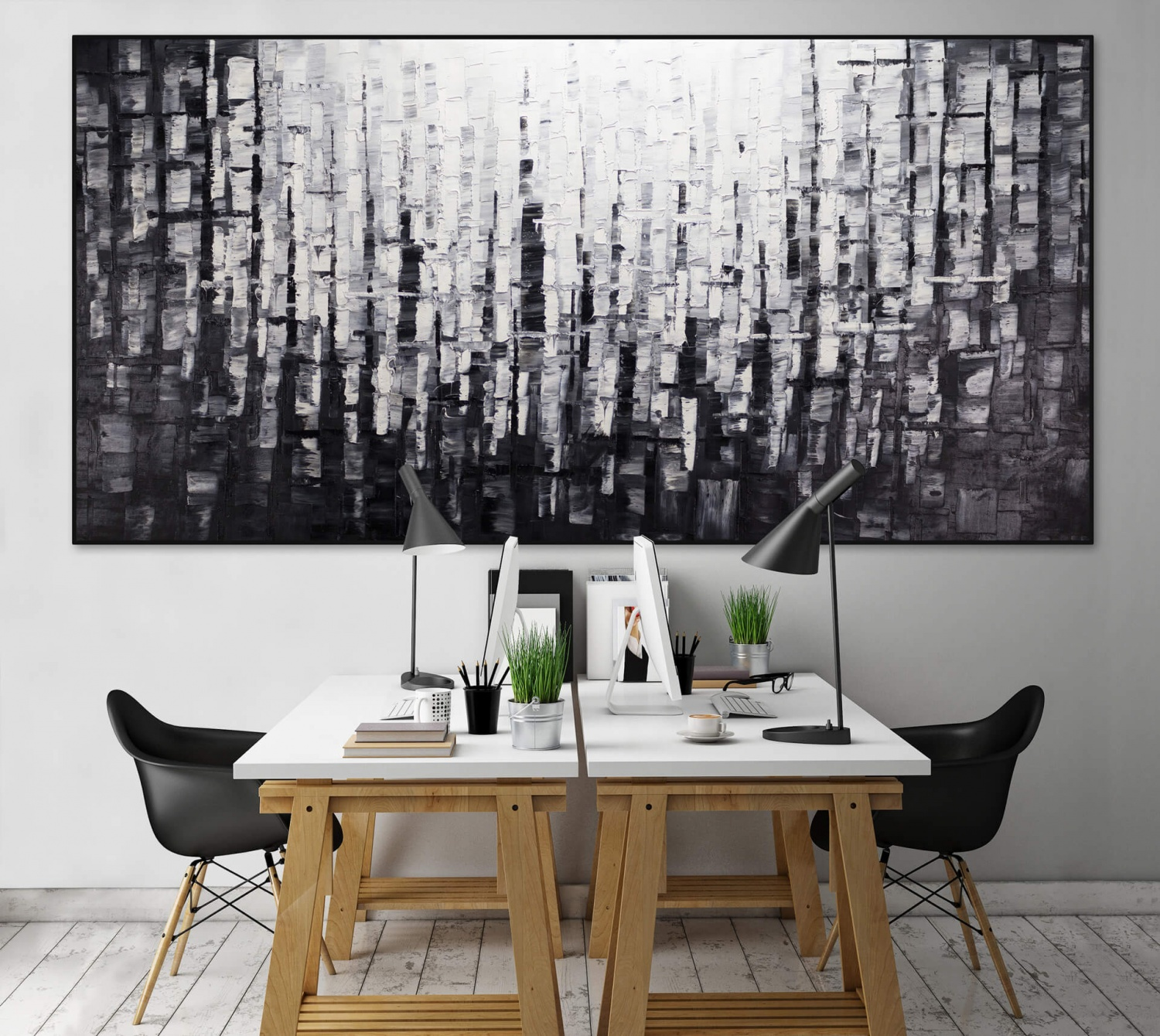 l gem lde 39 abstrakt licht schwarz weiss xxl 39 handgemalt leinwand bilder 2 4251155704503. Black Bedroom Furniture Sets. Home Design Ideas