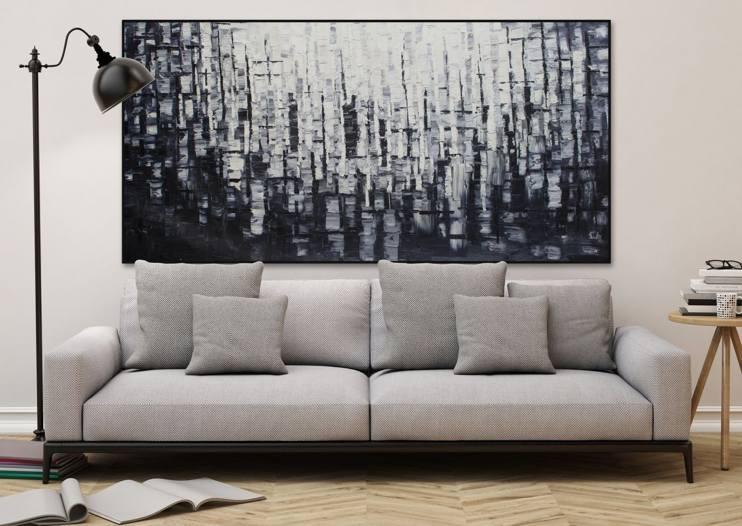 l gem lde 39 abstrakt licht schwarz weiss xxl 39 handgemalt leinwand bilder 2 ebay. Black Bedroom Furniture Sets. Home Design Ideas