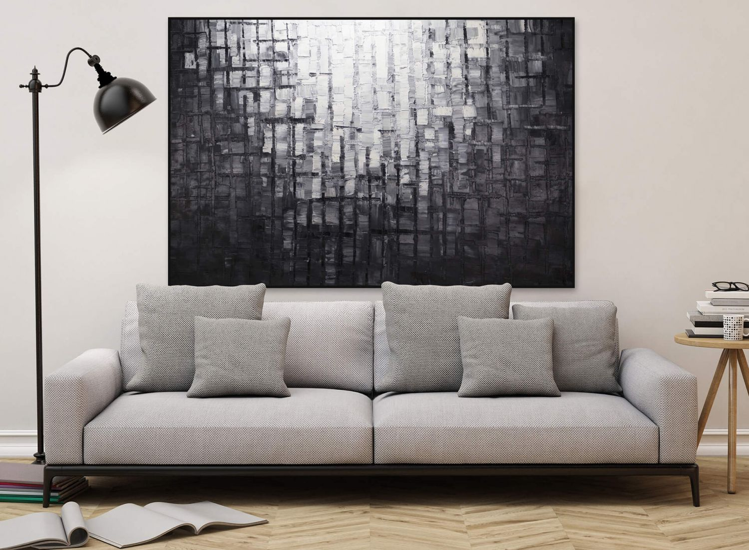 l gem lde 39 abstrakt schwarz xxl 39 handgemalt leinwand bilder 180x120cm ebay. Black Bedroom Furniture Sets. Home Design Ideas