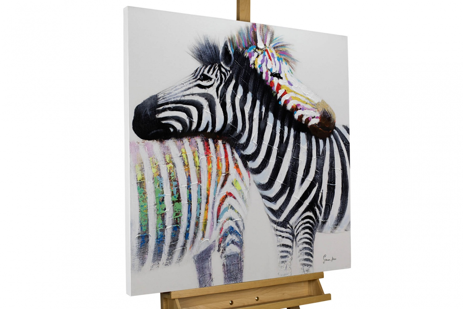 acryl gem lde 39 zebras liebe schwarz 39 handgemalt leinwand bilder 80x80cm ebay. Black Bedroom Furniture Sets. Home Design Ideas