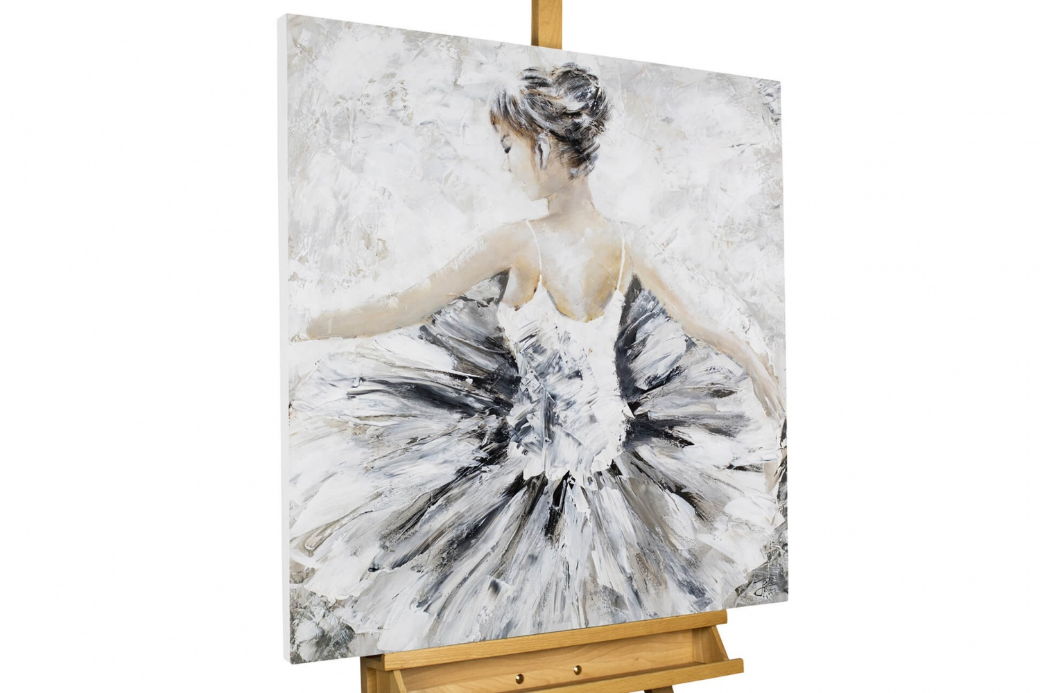 acryl gem lde 39 ballerina beige weiss 39 handgemalt leinwand bilder 80x80cm ebay. Black Bedroom Furniture Sets. Home Design Ideas