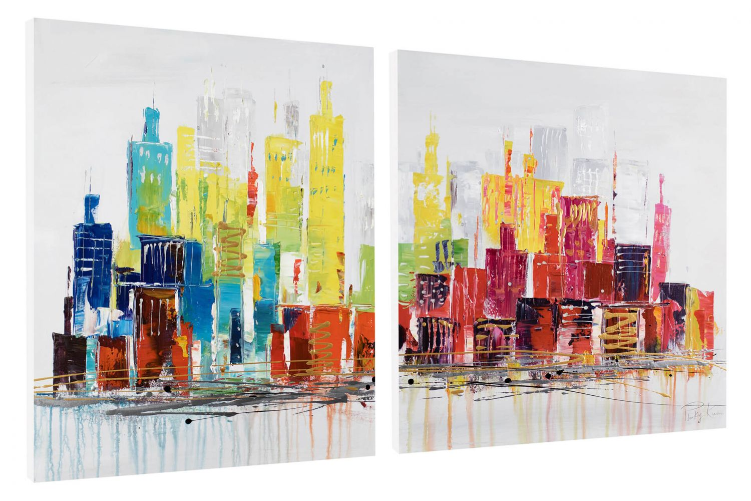 acryl gem lde 39 skyline bunt modern 39 handgemalt leinwand bilder 120x60cm ebay. Black Bedroom Furniture Sets. Home Design Ideas