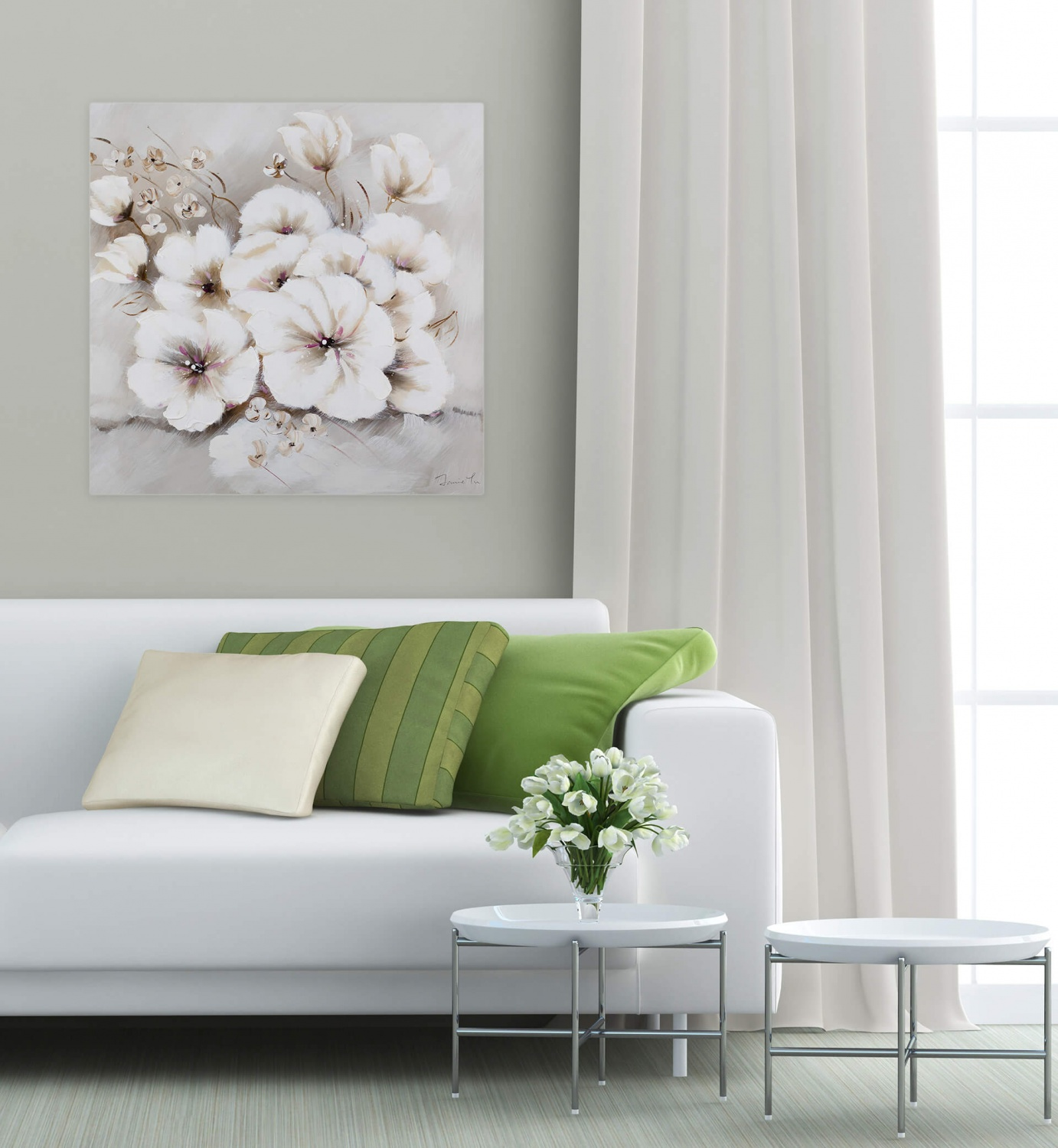 acryl gem lde 39 blumen natur beige 39 handgemalt leinwand bilder 80x80cm ebay. Black Bedroom Furniture Sets. Home Design Ideas