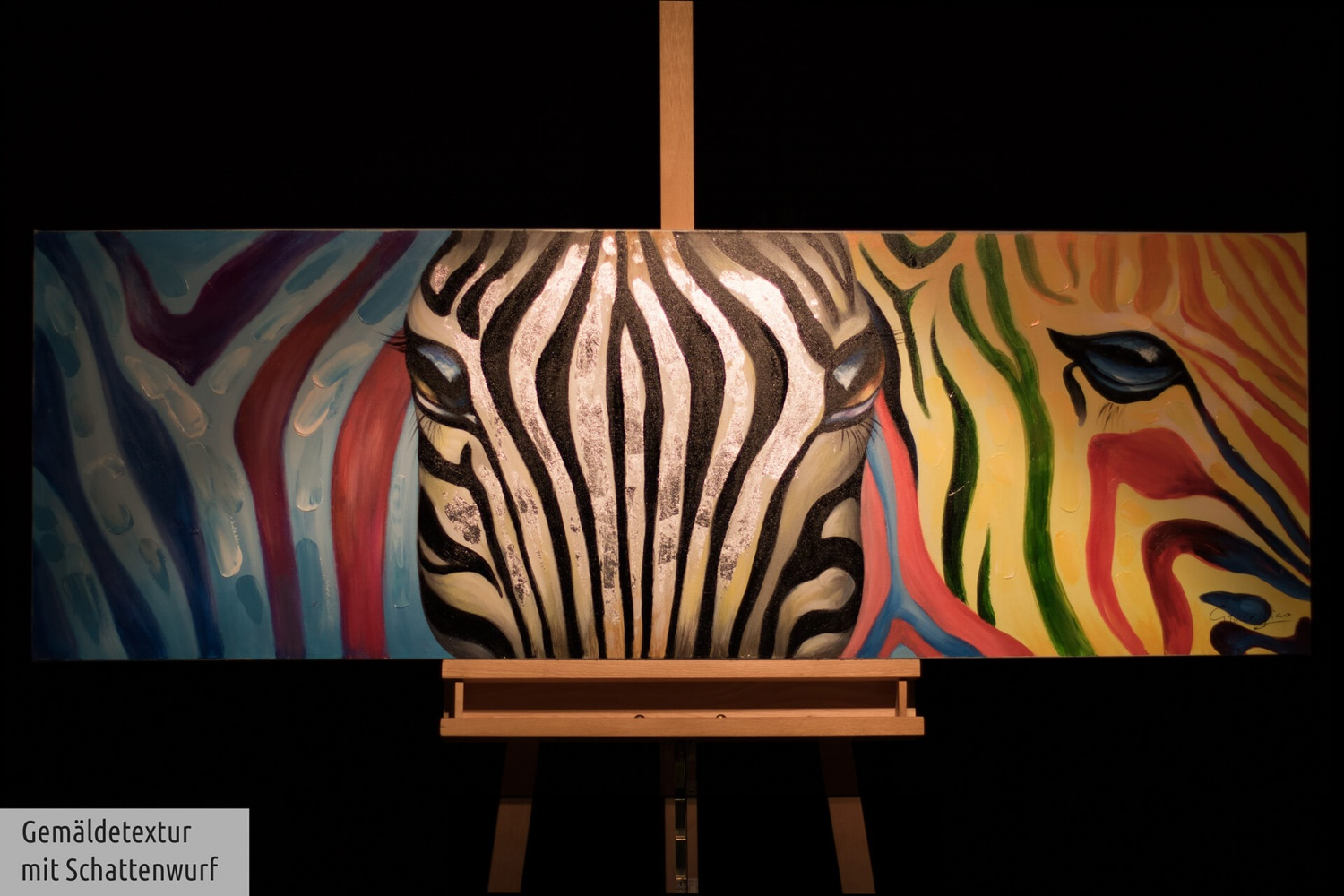 acryl gem lde 39 zebra abstrakt 39 handgemalt leinwand bilder 150x50cm ebay. Black Bedroom Furniture Sets. Home Design Ideas