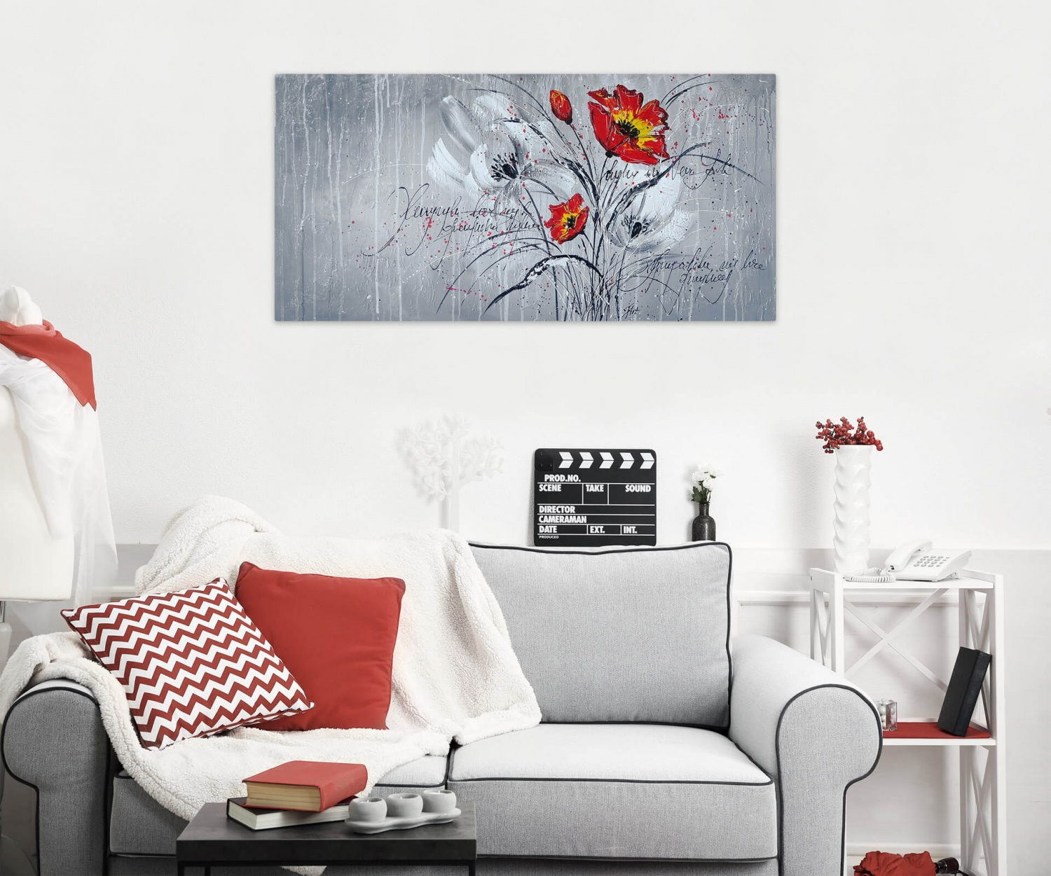 acryl gem lde 39 abstrakt rot grau blume flower 39 handgemalt leinwand bilder ebay. Black Bedroom Furniture Sets. Home Design Ideas