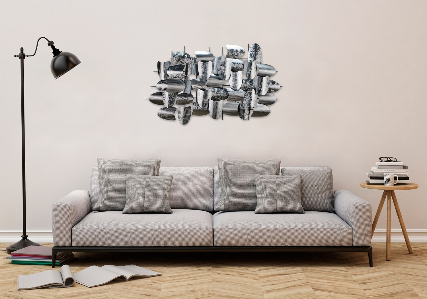 sculpture murale en m tal argent gris abstrait plaque arrondies 39 128x70x8cm ebay. Black Bedroom Furniture Sets. Home Design Ideas