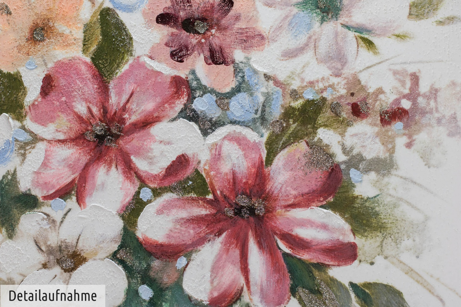 acryl gem lde 39 blumen rosa natur 39 handgemalt leinwand bilder 80x80cm ebay. Black Bedroom Furniture Sets. Home Design Ideas